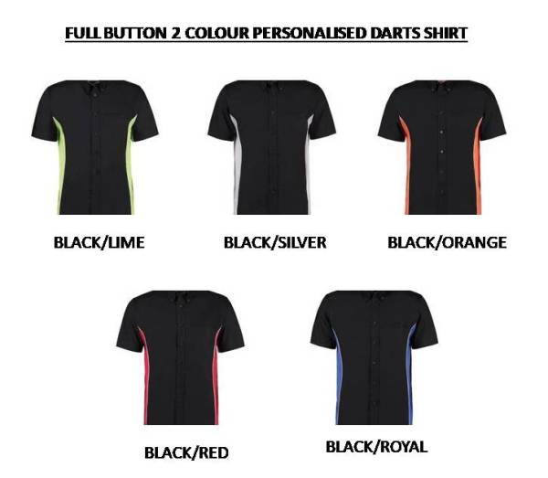 Full Button Personalised Contrast Darts Shirt